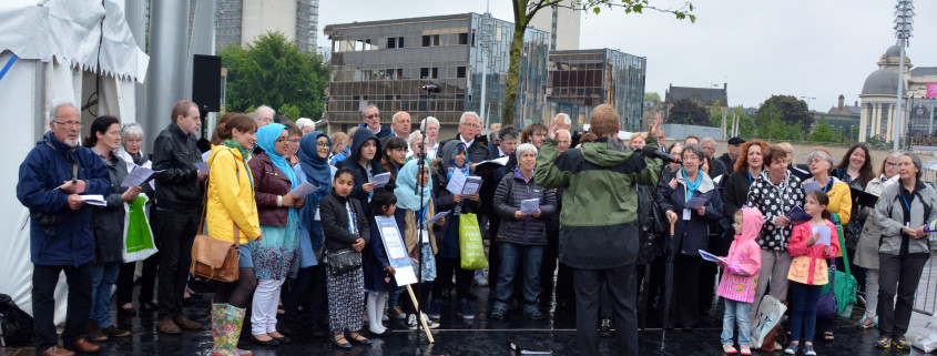 Bradford Festival Choir City Park in the rain